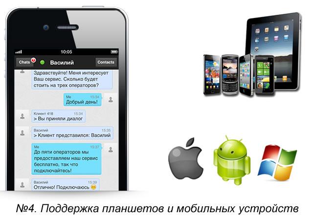Поддержка планшетов и мобильных устройств онлайн-консультантов Живо Сайт